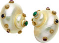 Estate Jewelry:Earrings, Shell, Multi-Stone, Gold Earrings, MAZ. ...