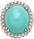 Estate Jewelry:Rings, Turquoise, Diamond, White Gold Ring. ...