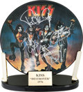 Music Memorabilia:Autographs and Signed Items, Kiss Signed Destroyer Limited Edition Dutch Picture Disc with Custom Display Stand (Stemra PIC 6399 064). ... (Total: 2 Items)