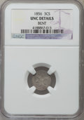 Three Cent Silver, 1856 3CS -- Bent -- NGC Details. Unc. NGC Census: (1/239). PCGS Population (10/233). Mintage: 1,458,000. Numismedia Wsl. Pr...
