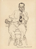 Fine Art - Work on Paper:Drawing, NORMAN ROCKWELL (American, 1894-1978). Waiting at the Doctor'sOffice, possible Smith Kline advertisement, circa 1952. P...