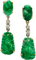 Estate Jewelry:Earrings, Jadeite Jade, Diamond, Gold Earrings. ...
