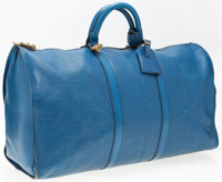 """Louis Vuitton Blue Epi Leather Keepall 50 Weekender Bag Good Condition 20"""" Width x 11"""" Height x 9"""