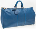 "Luxury Accessories:Accessories, Louis Vuitton Blue Epi Leather Keepall 55 Weekender Bag. GoodCondition. 22"" Width x 12"" Height x 10"" Depth. ..."