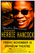 Music Memorabilia:Autographs and Signed Items, Herbie Hancock Signed Tour Poster (2007),...