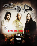 Music Memorabilia:Autographs and Signed Items, Staind Signed Poster (2014)....