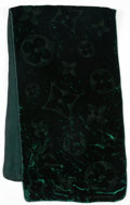 "Art Glass:Daum, Louis Vuitton Green Monogram Velvet Scarf. ExcellentCondition. 15"" Width 53"" Length . ..."