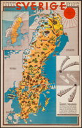 """Movie Posters:Miscellaneous, Map of Sweden (Swedish Traffic Association, 1931). Travel Poster (23"""" X 36""""). Miscellaneous.. ..."""