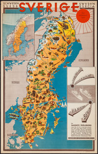 """Map of Sweden (Swedish Traffic Association, 1931). Travel Poster (23"""" X 36""""). Miscellaneous"""