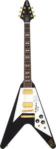 Music Memorabilia:Autographs and Signed Items, Jimi Hendrix Rock & Roll Hall of Fame Flying V Electric Guitar Signed by Lenny Kravitz (Gibson, 1992)....