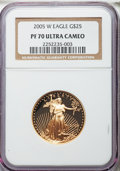 Modern Bullion Coins, 2005-W G$25 Half-Ounce Gold Eagle PR70 Ultra Cameo NGC. NGC Census: (1202). PCGS Population (316). Numismedia Wsl. Price f...