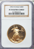 Modern Bullion Coins: , 1993-W G$50 One-Ounce Gold Eagle PR70 Ultra Cameo NGC. NGC Census: (425). PCGS Population (114). Mintage: 34,389. Numismedi...