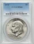 Eisenhower Dollars: , 1974 $1 MS66 PCGS. PCGS Population (124/0). NGC Census: (58/1). Mintage: 27,366,000. Numismedia Wsl. Price for problem free...