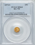 California Fractional Gold: , 1872/1 25C Indian Octagonal 25 Cents, BG-790, R.3, MS64 PCGS. PCGSPopulation (45/36). NGC Census: (2/3). ...