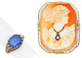 Estate Jewelry:Rings, Sapphire, Shell Cameo, Diamond, Gold Jewelry . ... (Total: 2 Items)