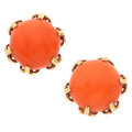 Estate Jewelry:Earrings, Coral, Gold Earrings. ...