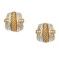 Estate Jewelry:Earrings, Diamond, Gold, Sterling Silver Earrings, Judith Ripka TWO. ...
