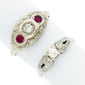 Estate Jewelry:Rings, Diamond, Ruby, White Gold Rings. ... (Total: 2 Items)