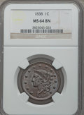 Large Cents: , 1838 1C MS64 Brown NGC. NGC Census: (89/76). PCGS Population (102/53). Mintage: 6,370,200. Numismedia Wsl. Price for proble...