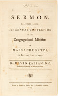 Books:Americana & American History, Tappan, David: A SERMON, DELIVERED BEFORE THE ANNUAL CONVENTION OFTHE CONGREGATIONAL MINISTERS OF MASSACHUSETTS, IN BOSTON,...