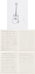 Music Memorabilia:Original Art, The Who - John Entwistle Collection of Sketches and Book OfHandwritten Music....