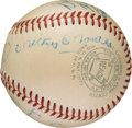 Baseball Collectibles:Balls, 1952-53 New York Yankees Multi Signed Baseball with Mantle. ...