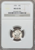 1931 10C MS65 Full Bands NGC. NGC Census: (57/14). PCGS Population (104/87). Mintage: 3,150,000. Numismedia Wsl. Price f...