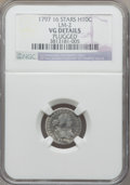 Early Half Dimes, 1797 H10C 16 Stars, V-4, LM-2, R.4, -- Plugged -- NGC Details. VG.NGC Census: (0/19). PCGS Population (0/1)....