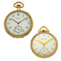 Timepieces:Pocket (post 1900), Hamilton & Bulova 12 Size Pocket Watches Runners. ... (Total: 2 Items)