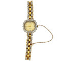 Timepieces:Wristwatch, Lady's Swiss 14k Gold & Diamond Wristwatch. ...