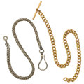 Timepieces:Watch Chains & Fobs, Early Sterling Sheppard's Hook Chain & Gold Filled Chain. ... (Total: 2 Items)
