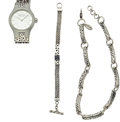 Timepieces:Other , Lois Hill Sterling Silver Wristwatch, Bracelet & Necklace. ...(Total: 3 Items)