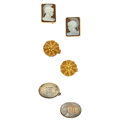 Estate Jewelry:Cufflinks, Cameo, Gold, Sterling Silver Cuff Links. ... (Total: 3 Items)