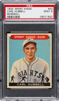 Baseball Cards:Singles (1930-1939), 1933 Goudey Sport Kings Carl Hubbell #42 PSA Mint 9 - NoneHigher....
