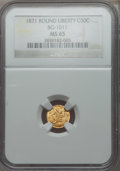 California Fractional Gold: , 1871 50C Liberty Round 50 Cents, BG-1011, R.2, MS65 NGC. NGCCensus: (13/11). PCGS Population (23/15). ...