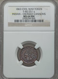 Civil War Patriotics, 1863 Patriotic Civil War Token, Indian-Crossed Cannons, F-80/351aMS64 Brown NGC....