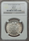 German States:Lubeck, German States: Lubeck. Free City 3 Mark 1912-A MS61 NGC,...
