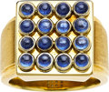 Estate Jewelry:Rings, Gentleman's Sapphire, Gold Ring. ...