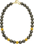 Estate Jewelry:Necklaces, Pyrite, Gold Necklace, Paula Crevoshay. ...