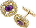 Estate Jewelry:Cufflinks, Amethyst, Diamond, Gold Cuff Links. ...