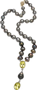 Estate Jewelry:Necklaces, South Sea Cultured Pearl, Citrine, Diamond, Gold Necklace. ...