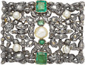 Estate Jewelry:Brooches - Pins, Georgian Emerald, Pearl, Diamond, Gold, Silver Brooch. ...