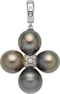 Estate Jewelry:Pendants and Lockets, South Sea Cultured Pearl, Diamond, White Gold Enhancer-Pendant. ...