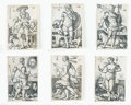 Books:Prints & Leaves, Hans Sebald Beham. Six of Seven Engravings Depicting the Planetswith Their Zodiac Symbols. Nuremberg: 1539....