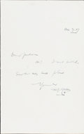 Books:Manuscripts, H. G. Wells Autograph Note Signed. One page, 7 x 4.5 inches folded,Sandgate, December 9, 1907. Addressed to Holbrook Jackso...