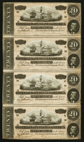 Confederate Notes:1864 Issues, T67 $20 1864 PF-38 Cr. 538 Reconstructed Four Note Sheet.. ...