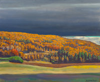 ROCKWELL KENT (American, 1882-1971) Golden Fall, circa 1955 Oil on canvas 28 x 34 inches (71.1 x