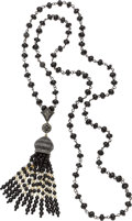 Estate Jewelry:Necklaces, Black Spinel, Diamond, Colored Diamond, Cultured Pearl, Gold, Silver Necklace. ...