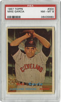 Baseball Cards:Singles (1950-1959), 1957 Topps Mike Garcia #300 PSA NM-MT 8. Exceptional image clarityand gloss allow this beautiful Mike Garcia #300 to rate ...