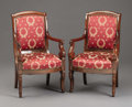 Miscellaneous, A Pair of Empire Mahogany Fauteuils. . Mahogany. Circa 1800-1830. 37 inches high. ... (Total: 2 Items)